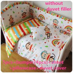 Discount! 6/7pcs baby cot bedding set baby crib bedding sets bird cartoon baby cot bedding set ,120*60/120*70cm