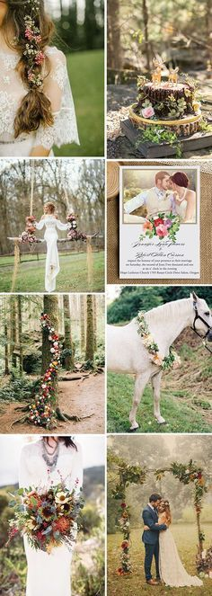 boho woodland and forest wedding ideas with invitations