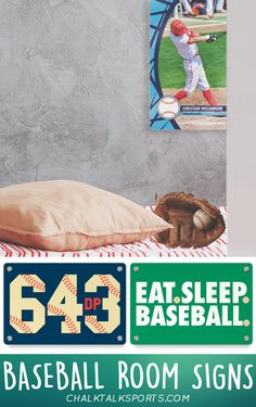 Make your room feel like the dugout with pieces from our collection of baseball room signs! Customize door hangers, wall decals, and metal signs here!