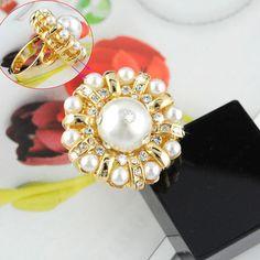 2PCS/LOT Fashion Rhinestone Gold Pearl Jewellery Alloy Cocktail Rings RN-457