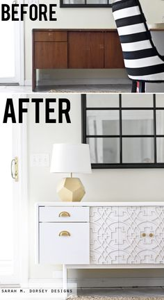 Commercial Office Credenza to Custom Credenza with Overlays - sarah m. dorsey designs