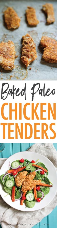 These baked paleo chicken tenders are made with organic chicken, almond meal, shredded coconut and a blend of spices. They're absolutely delicious high in protein, low carb and approved. Paleo Dinner, Healthy Dinner Recipes, Paleo Recipes, Cooking Recipes, Healthy Dinners, Healthy Suppers, Lunch Recipes, Free Recipes, Paleo Chicken Tenders
