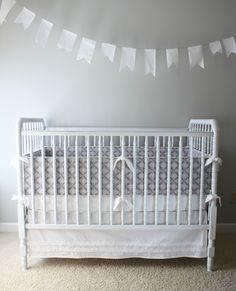 Lace 3 Piece Crib Set with Ruffle Skirt
