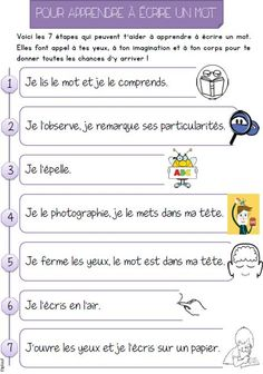 mémoriser un mot French Teaching Resources, Teaching French, Teaching English, Teacher Resources, Primary Education, Kids Education, French For Beginners, Material Didático, Learning Sites