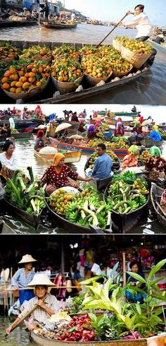 Iconic floating market in Thailand.