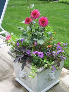 Summer planters are designed to provide an impressive impact.The plants are arranged in such a fashion that they seem to ebb & flow and intermingle with each other. Almost like a garden contained within your vessel. With the proper care they flourish throughout the summer! The plants are expertly chosen depending on location.