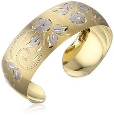 14k Yellow Gold-Filled Hand Engraved Cuff Bracelet * You can find more details at…