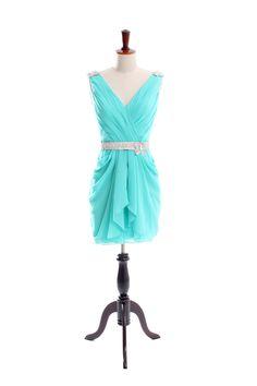 Sexy v-neck chiffon knee length dress