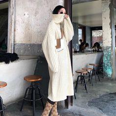 FF STUDIO定制 2017冬季新款宽松中长款套头高领打底毛衣连衣裙女-淘宝网