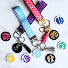Monogrammed Key Fob Lanyard Accessory Personalized Wrist