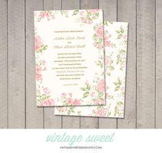 Vintage Floral Garden Wedding Invitation (Printable DIY) by Vintage Sweet Design On Etsy {$12.00}  vintagesweetdesign.etsy.com
