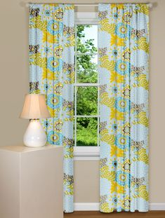 Window Curtain With Floral Design in Blue, Yellow and Grey