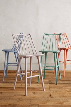 This classically shaped bar stool gets a modern touch with pastel colors.