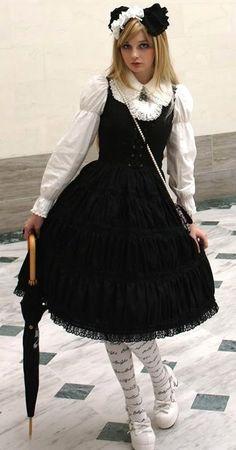 Black  White Goth Lolita ~~ For more:  - ✯ http://www.pinterest.com/PinFantasy/lifestyles-~-lolita-style-fashion-and-fantasy/