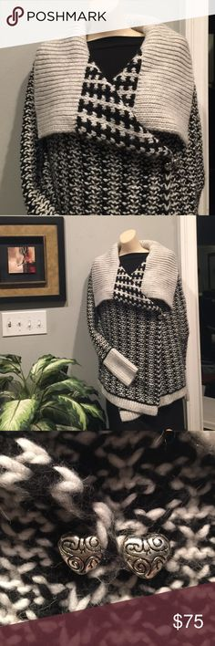 Angora Cardigan Wrap The perfect, sweater to wear for the first heavy snowfall.  Long sleeve, large collar, folds down. Angora Blend, very warm. Jewelry not included no name Sweaters Cardigans