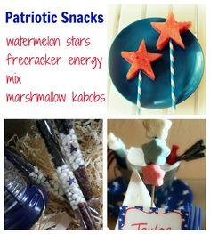 4th of July easy snacks: watermelon stars, firecracker energy mix, marshmallow kabobs