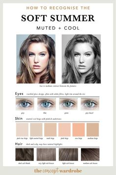 If you have just discovered that you are a Soft Summer in the seasonal colour analysis, find out which colours look best on you. Soft Summer Makeup, Winter Makeup, Summer Skin, Dark Summer, Soft Summer Color Palette, Summer Colors, Light Spring Palette, Summer Color Palettes, Skin Undertones