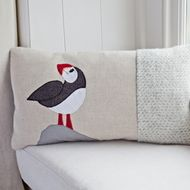 Beautiful Puffin cushion on natural linen with a mixed tweed body and red wool beak and legs. The cushion is backed with a soft grey wool, woven in Wales ( available as a throw via email) Dry Clean only. Includes a cotton covered feather pad. Cushion Ideas, Free Machine Embroidery, Teaching Art, Natural Linen, Textile Art, Wool Felt, Wales, Pillow Covers, Craft Projects