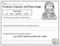 simple, expanded, and rearranging sentences Adjective Anchor Chart, Sentence Anchor Chart, Grammar Anchor Charts, Anchor Charts First Grade, Sentence Writing, Second Grade Books, 2nd Grade Writing, Interactive Journals, Phonics Words