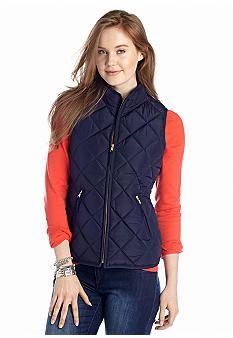 crown & ivy™ Solid Puffer Vest - Belk.com