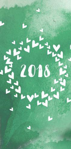 Kerstkaart met hartenwolk op groene  aquarel achtergrond, verkrijgbaar bij #kaartje2go voor €2,20