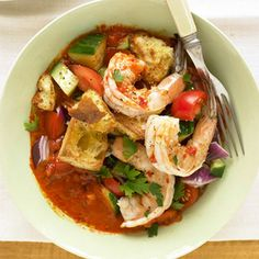 Gazpacho Shrimp Salad This salad main dish recipe combines jumbo shrimp, vegetables, and croutons, tossed in a delicious roasted red pepper and tomato dressing.