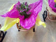 Bonito detalle de unos maceteros con flores de ornato, en forma de carreta con metal reciclado. Baby Strollers, Children, Shape, Wheelbarrow, Upcycling, Baby Prams, Kids, Prams, Strollers