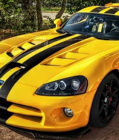 the beautiful dodge viper is perfect in yellow this sexysaturday