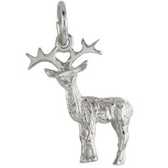 Reindeer Charm $24.50 https://www.charmnjewelry.com/category/sterling_silver-Animal_Charms.htm  #HolidayCharm