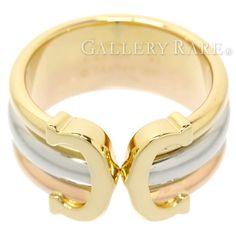 カルティエ リング 2C K18YGイエローゴールド K18WGホワイトゴールド K18PGピンクゴールド リングサイズ51 スリーゴールド スリーカラー Cartier ジュエリー 指輪 C2 C ドゥ
