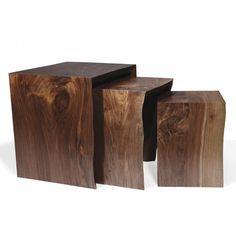 "Nesting Tables from Hudson Furniture Inc.. Continuous Mitered Edge Walnut Top and Sides (Natural Finish). Size Shown: Approx. Large: 22""W x 22""D x 22""H; Medium: 17""W x 16.5""D x 19.5""H; Small: 12""W x 12.5""D x 17""H.   Custom Finishes/ Sizes Available"
