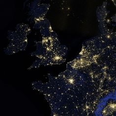 """NASA/NOAA/DD Suomi NPP satellite - 27 March 2012 - """"Out of the Blue and Into the Black"""" The Lights of London - Earth at Night (http://earthobservatory.nasa.gov/Features/IntotheBlack/)"""