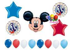 Nautical Mickey Mouse Sailor Balloons Balloon Backdrop, Balloon Columns, Mylar Balloons, Baby Shower Balloons, Latex Balloons, The Balloon, Balloon Decorations, Graduation Balloons, Wedding Balloons