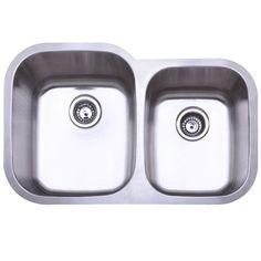 """Kingston Brass KU32219D 31.5"""" Undermount Double Basin Stainless Steel Kitchen Si Brushed Nickel Fixture Kitchen Sink Stainless Steel"""
