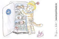 Wenn das Eisfach nicht voll ist eignet, es sich prima dafür Tanzschuhe zu lagern.  #Katze #Cat #Illustration