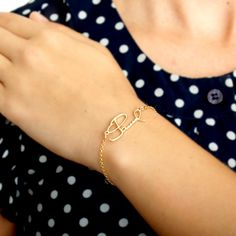 Signature handwriting Silver Gold Plated Bracelet