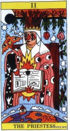 The High Priestess - Tarot del Fuego by Ricardo Cavolo II. The High Priestess - Tarot del Fuego by Ricardo Cavolo II. The High Priestess - Tarot del Fuego by Ricardo Cavolo II. The High Priestess - Tarot del Fuego by Ricardo Cavolo The Magician Tarot, Tarot Tattoo, Tarot Major Arcana, Modern Tattoos, Free Tarot, Spanish Artists, Tarot Spreads, Outsider Art, Tarot Decks