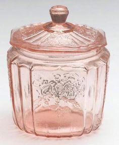 Pink Glass Mayfair Open Rose Kitchen Cookie Biscuit Jar