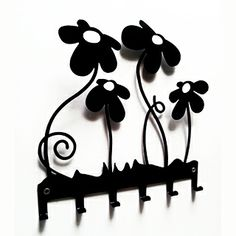 Black Flowers on the wall.One of our #ideas for #Christmas #keys #decor #home @Pinterest