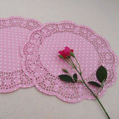 20pcs Pink with White Dots Paper Doily 105 inch by muimuichow, $7.50