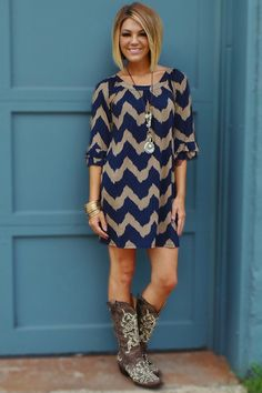 The Zigzag Stripe Dresses With Cowboy Bootscow