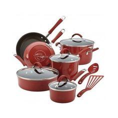 Rachael Ray 12-Piece Cookware Set Porcelain Enamel Nonstick Cranberry Red #RachaelRay