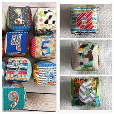 Educational and fun soft block sets. Alphabet, numbers, shapes, colors and a personalized block. 11 block set