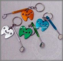 Mouth Mirror & Smiling Tooth (Colored) keychain