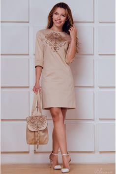 Сукня трапецевидного фасону з вишивкою • бежевий • придбати онлайн • vilenna.ua