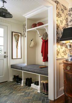 interior design, mudroom, back doors, outdoor fabric, indoor outdoor, mud rooms, basement flooring, floor patterns, traditional homes