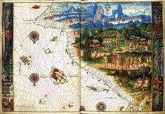 Descoberta i conquesta catalana d'Amèrica. Representació de la costa oriental d'Austràlia amb dues senyeres (de cap per avall)
