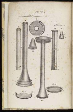 Frontespizio del libro Diseases of the Chest di Laennec con illustrazione del suo stetoscopio