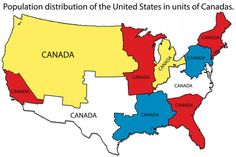 (larger) This map created by Refah Seyed Mahmoud shows the population distribution of the United States as measured in units of Canadas. The entire population of Canada could fit into each outlined. College Humor, Science, American History, Funny Pictures, Funny Memes, Hilarious, United States, The Unit, Teaching