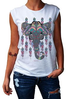 Women's T-Shirt SPIRITUAL ELEPHANT - 100% Made in Italy - 100% Cotton - BOHO COLLECTION http://www.doubleexcess.com/